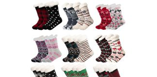 Women's Sherpa Lined Non-skid Slipper Socks, 2-Pack