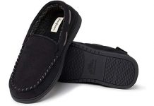 Dearfoams Men's Moccasin with Whipstitch Slipper