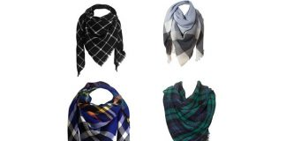 Oversized Cashmere Wrap Plaid Scarf