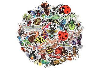 Waterproof Nature Vinyl Stickers Pack for Scrapbooking Water Bottle DIY (50 Pcs Insect Style)