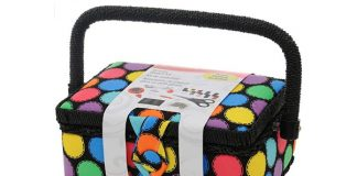 SINGER 07272 Polka Dot Small Sewing Basket with Sewing Kit Accessories