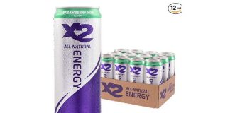 X2 All Natural Healthy Energy Drink: Great Tasting Non-Carbonated Energy Beverage with No Crash or Jitters – Less Sugar, Lower Calories - No Artificial Ingredients - Strawberry Kiwi - Pack of 12