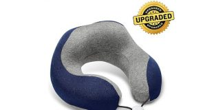 Phixnozar Travel Pillow 100% Memory Foam –Neck Pillow, Ideal for Airplane Travel – Comfortable and Lightweight – Improved Support Design – Machine Washable Cover – Must-Have Travel Accessories (Blue)